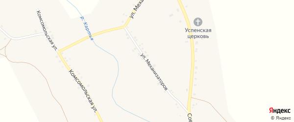 Улица Механизаторов на карте села Ярославки Башкортостана с номерами домов