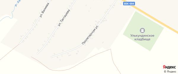 Пролетарская улица на карте села Улькунды с номерами домов