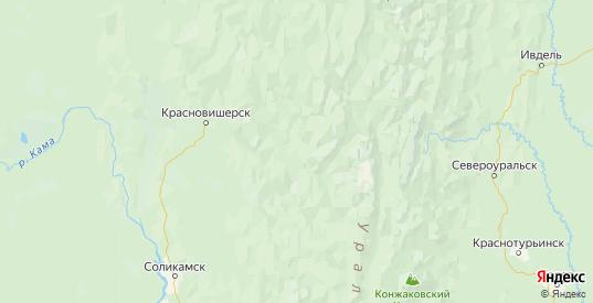 Карта Красновишерского района Пермского края с городами и населенными пунктами