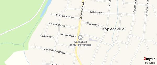 Советская улица на карте поселка Кормовища с номерами домов