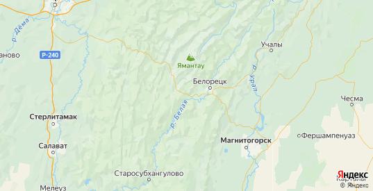 Карта Белорецкого района республики Башкортостан с городами и населенными пунктами