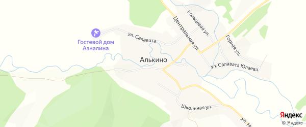 Карта села Алькино в Башкортостане с улицами и номерами домов