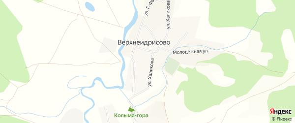 Карта деревни Верхнеидрисово в Башкортостане с улицами и номерами домов