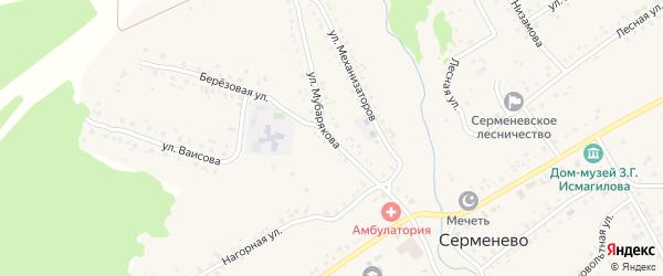 Улица А.Мубарякова на карте села Серменево с номерами домов