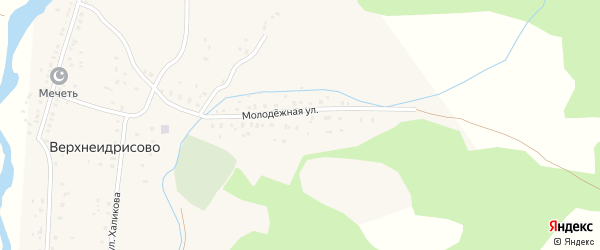 Молодежная улица на карте деревни Верхнеидрисово с номерами домов