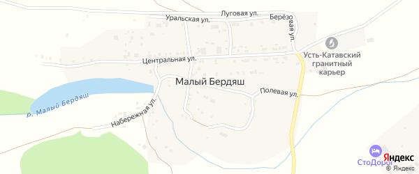Набережная улица на карте поселка Малого Бердяша с номерами домов