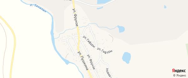 Улица Гафури на карте села Бурибая с номерами домов