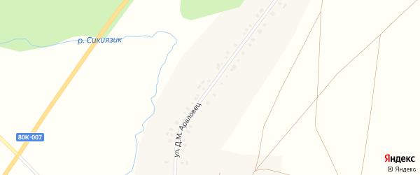 Улица Д.М.Араловец на карте села Сикияза с номерами домов