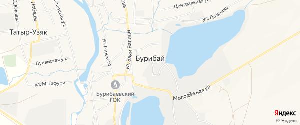Карта села Бурибая в Башкортостане с улицами и номерами домов