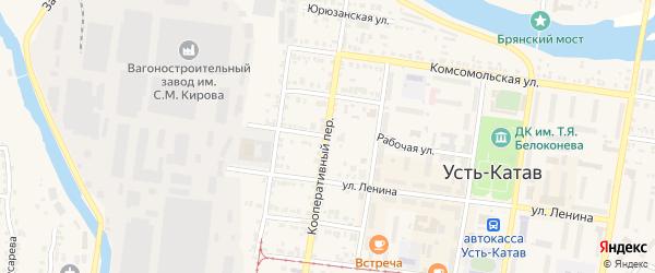 Кооперативный переулок на карте Усть-Катава с номерами домов