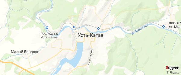 Карта Усть-Катава с районами, улицами и номерами домов: Усть-Катав на карте России