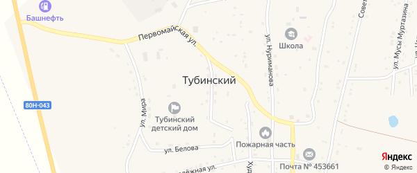 Первомайская улица на карте села Тубинского с номерами домов
