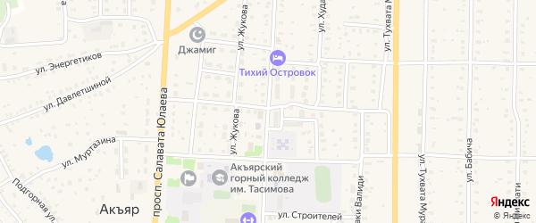 Улица Акмуллы на карте села Акъяра с номерами домов