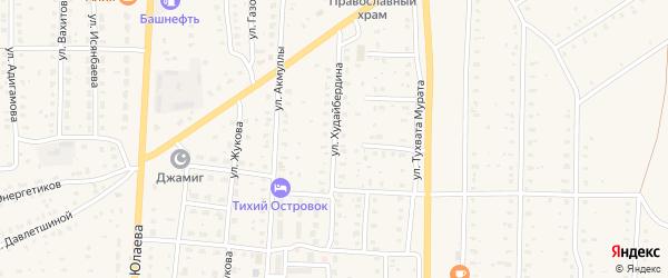 Улица Худайбердина на карте села Акъяра с номерами домов