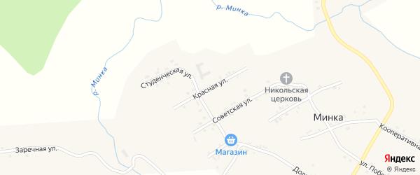 Красная улица на карте села Минки с номерами домов