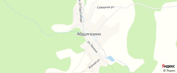 Карта деревни Абдулгазино в Башкортостане с улицами и номерами домов