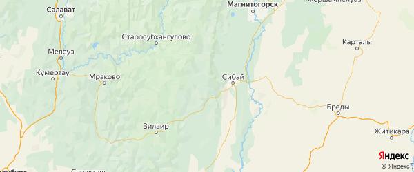 Карта Баймакский района Республики Башкортостана с городами и населенными пунктами