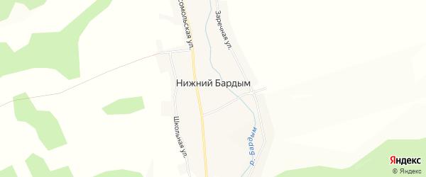 Карта деревни Нижнего Бардыма в Свердловской области с улицами и номерами домов