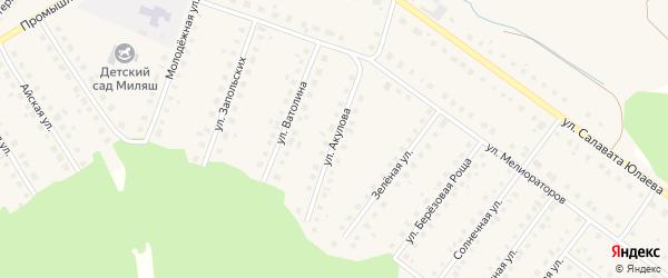 Улица Акулова на карте Большеустьикинское села Башкортостана с номерами домов