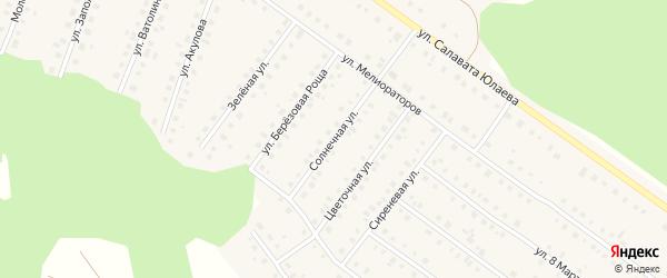 Солнечная улица на карте Большеустьикинское села с номерами домов