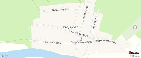 Центральная улица на карте деревни Кадырово с номерами домов