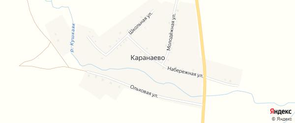 Набережная улица на карте деревни Каранаево с номерами домов