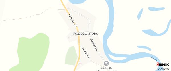 Карта деревни Абдрашитово в Башкортостане с улицами и номерами домов