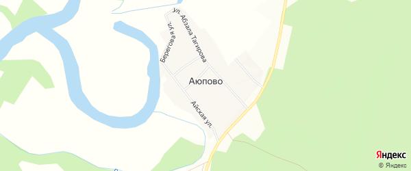 Карта деревни Аюпово в Башкортостане с улицами и номерами домов