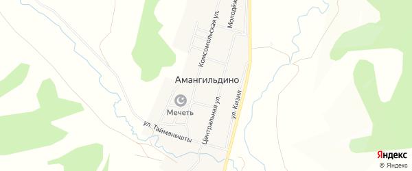 Карта села Амангильдино в Башкортостане с улицами и номерами домов