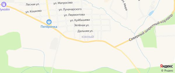 Карта Южного микрорайона города Горнозаводска в Пермском крае с улицами и номерами домов