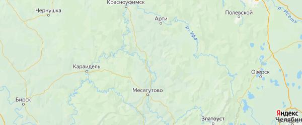 Карта Мечетлинского района Республики Башкортостана с городами и населенными пунктами