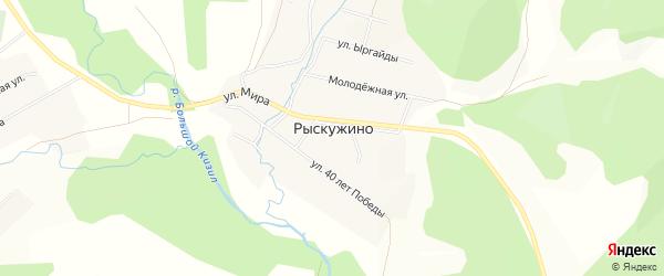 Карта деревни Рыскужино в Башкортостане с улицами и номерами домов