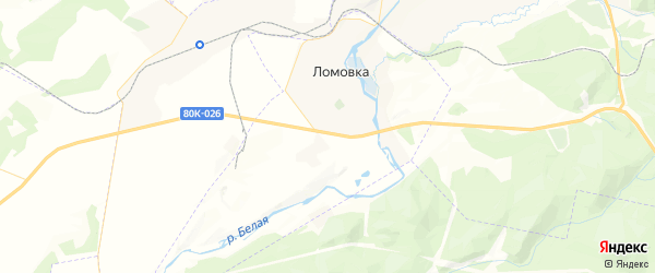 Карта Ломовского сельсовета Республики Башкортостана с районами, улицами и номерами домов