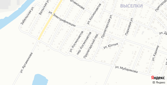 Переулок Космонавтов в Белорецке с номерами домов на карте. Спутник и схема онлайн