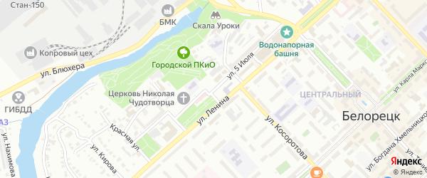 Улица 5 Июля на карте Белорецка с номерами домов