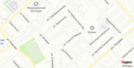 Фабричная улица в Белорецке с номерами домов на карте. Спутник и схема онлайн
