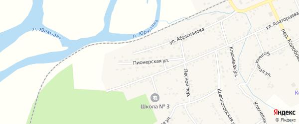 Пионерская улица на карте Юрюзани с номерами домов