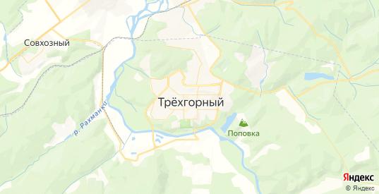 Карта Трехгорного с улицами и домами подробная. Показать со спутника номера домов онлайн