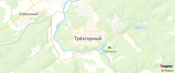 Карта Трехгорного с районами, улицами и номерами домов