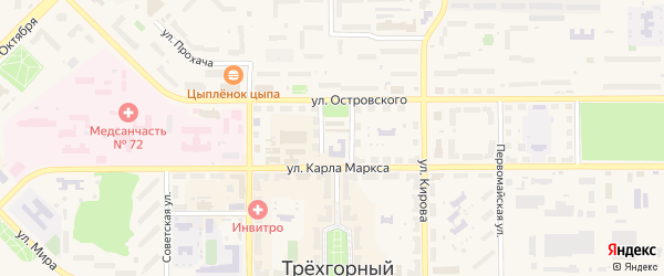 Садовая улица на карте Трехгорного с номерами домов