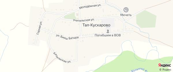 Улица Бииш Батыра на карте деревни Тал-Кускарово с номерами домов
