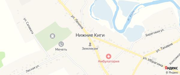 Комсомольская улица на карте села Нижние Киги Башкортостана с номерами домов