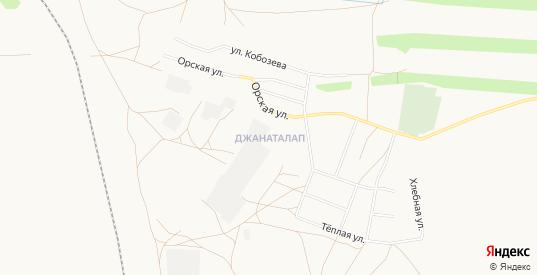 Карта поселка Джанаталап в Орске с улицами, домами и почтовыми отделениями со спутника онлайн