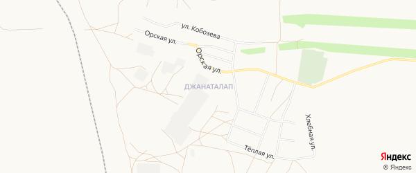 Карта поселка Джанаталапа города Орска в Оренбургской области с улицами и номерами домов