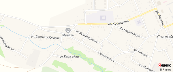 Улица Худайбердина на карте села Старого Сибая Башкортостана с номерами домов