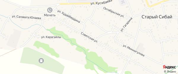 Советская улица на карте села Старого Сибая Башкортостана с номерами домов