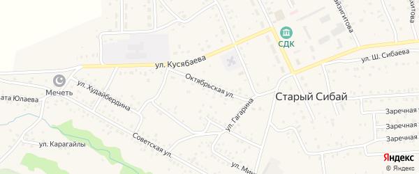 Октябрьская улица на карте села Старого Сибая Башкортостана с номерами домов