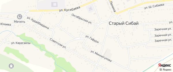 Улица Гафури на карте села Старого Сибая Башкортостана с номерами домов