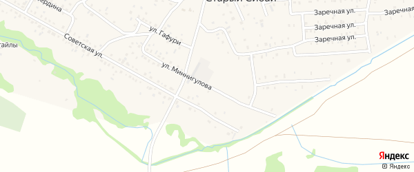 Улица Миннигулова на карте села Старого Сибая Башкортостана с номерами домов
