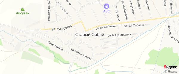 Карта села Старого Сибая в Башкортостане с улицами и номерами домов